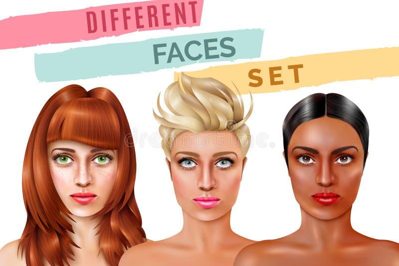 Face Set di modello illustrazione di stock