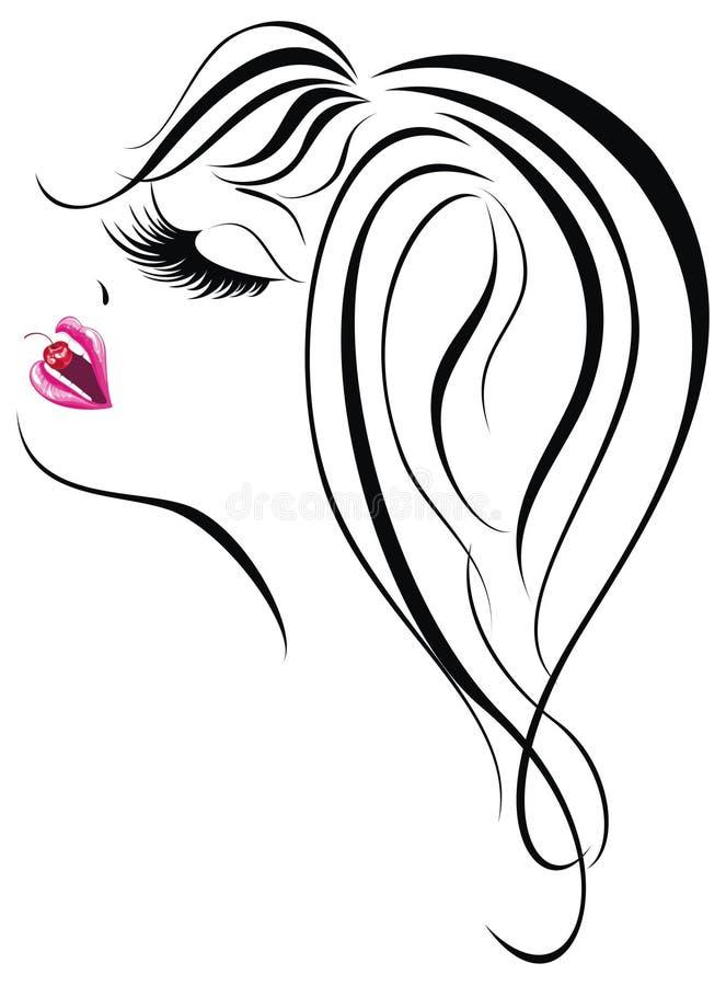 Face 'sexy' da menina ilustração royalty free