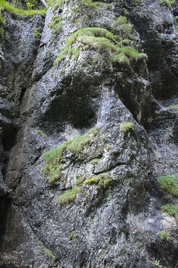 Face shaped mountain. Serrai di sottoguda Canyon, Veneto, Italy. stock photo