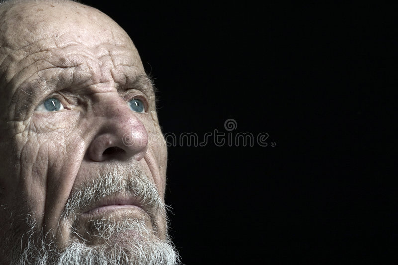 Face shoot of senior 2. Face shoot of ody man on black background