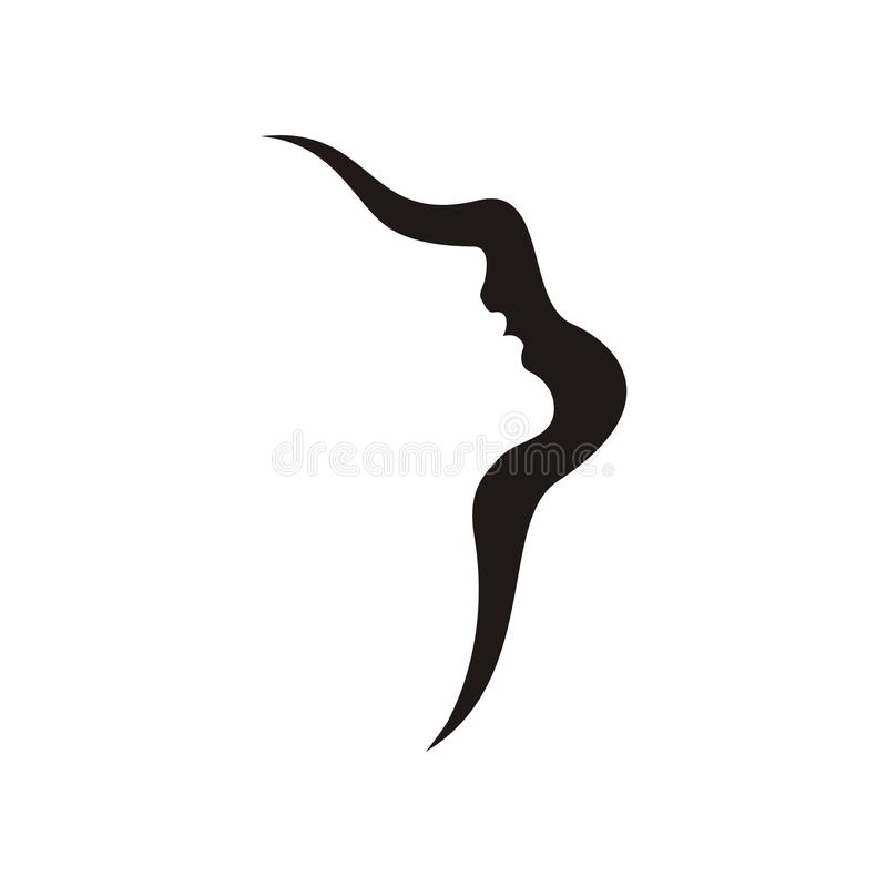 Face. Silhouette of a girl's face black stock illustration