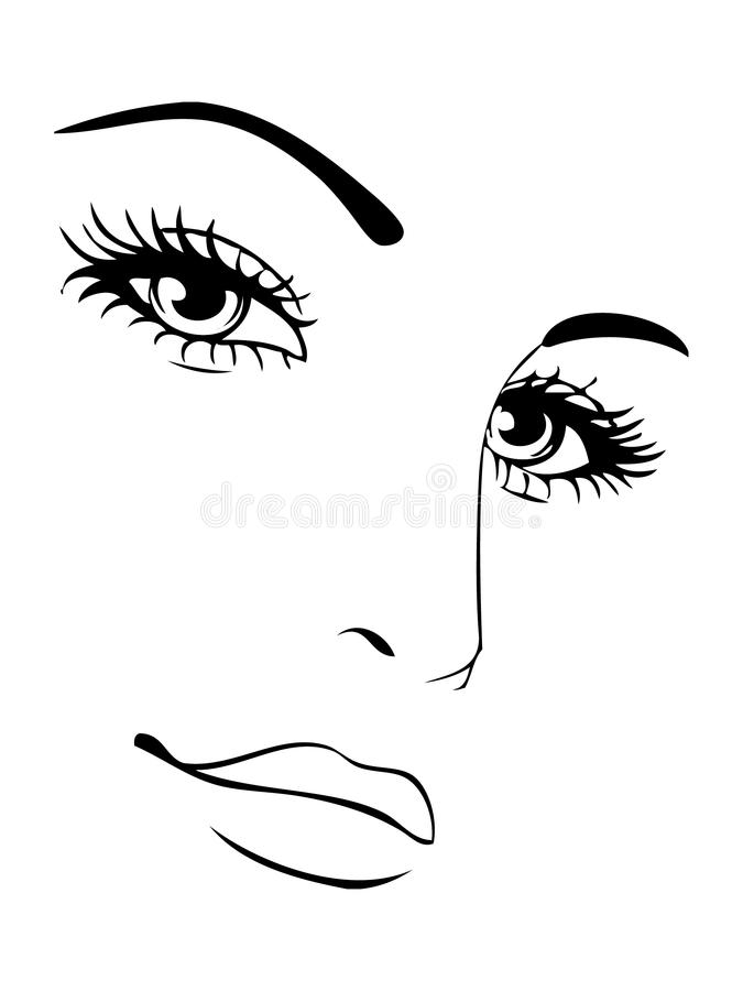 Face sketch lineart for cosmetic study. Face for make up study colors cover gloss lashes vector illustration