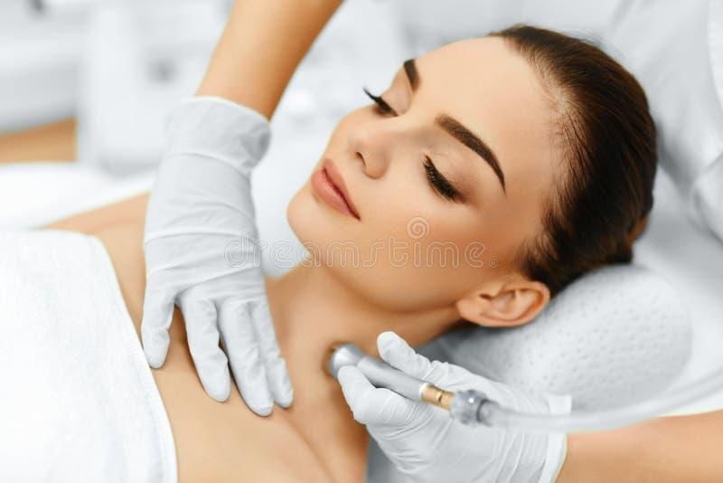 Face Skin Care. Diamond Microdermabrasion Peeling Treatment, Beauty Spa. Cosmetology. stock photos