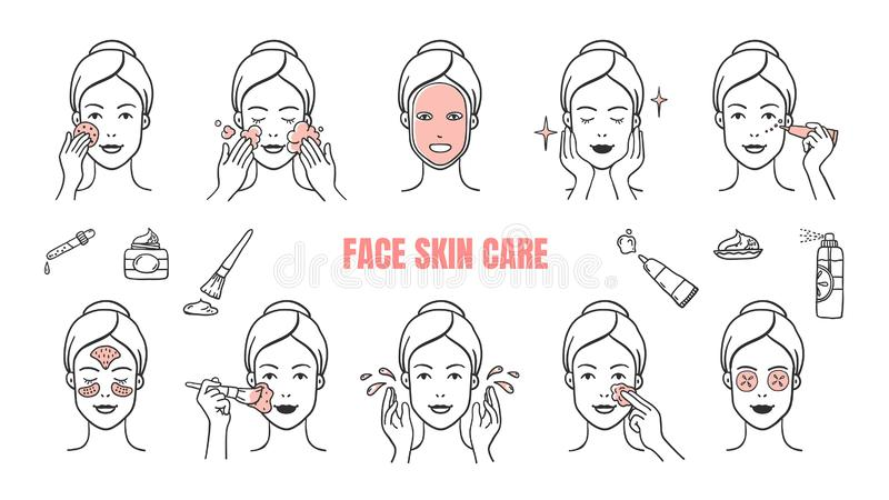 Face skin care icons. Makeup removal and dermatology infographic elements, facial masks and skincare cream. Vector hand stock illustration