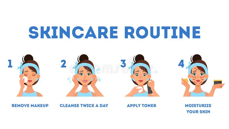 Face skin care instruction. Pretty woman cleaning face vector illustration