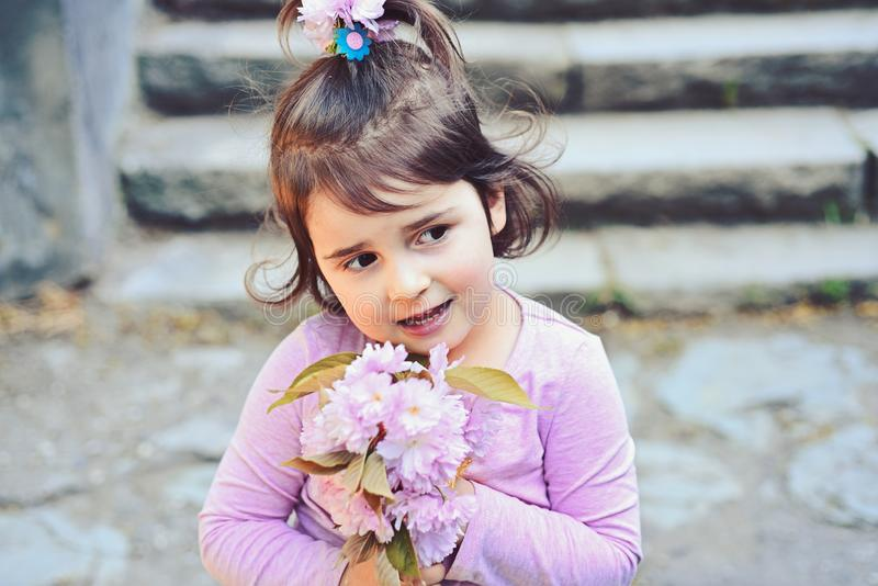 Face and skincare. allergy to flowers. Little girl in sunny spring. Springtime. weather forecast. Summer girl fashion royalty free stock images
