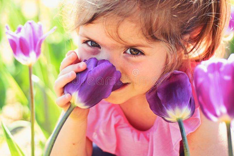 Face skincare. allergy to flowers. Springtime tulips. weather forecast. Summer girl fashion. Happy childhood. Little stock images