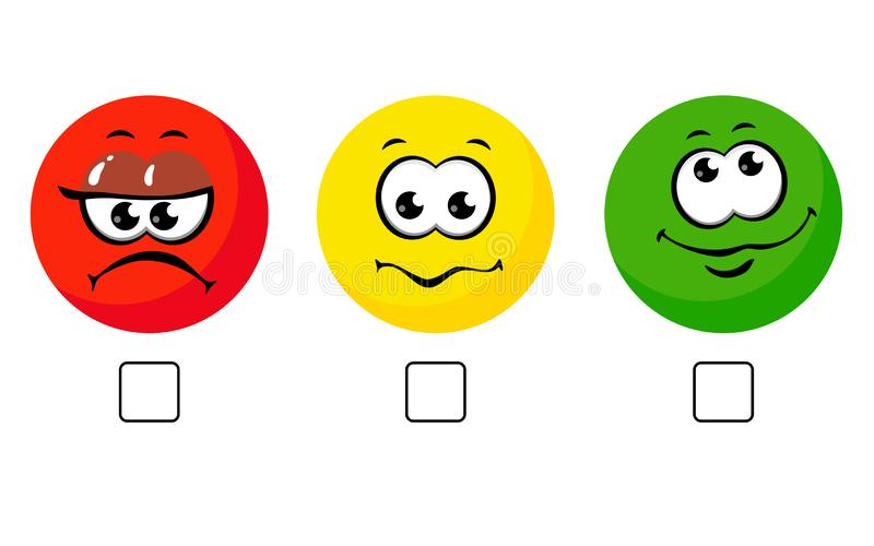 Face smile icon positive, negative neutral opinion vector rate button signs on white background. Comics faces cartoon stock illustration