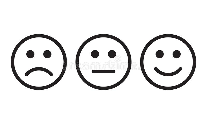 Face smile icon positive, negative neutral opinion vector signs stock illustration