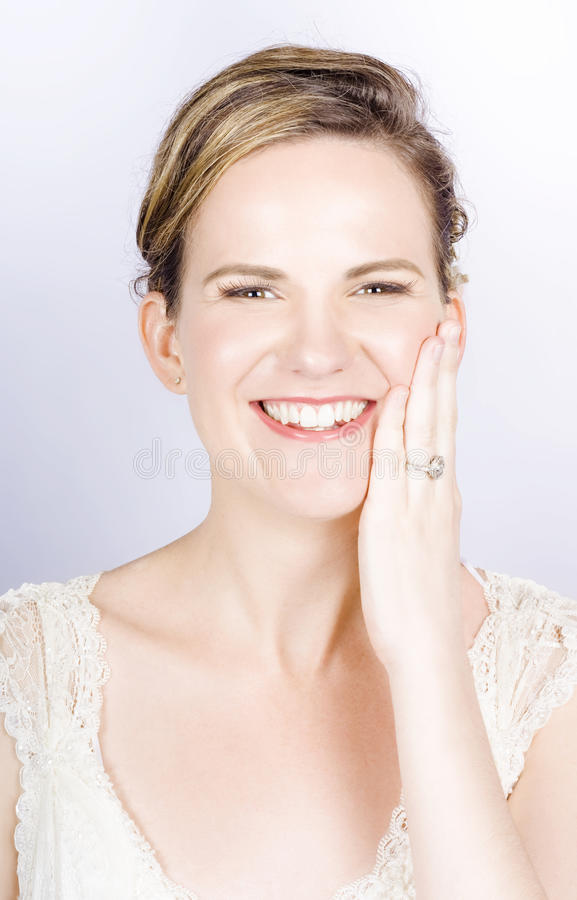 Download Face Of A Smiling Bride With Perfect Makeup Stock Photo - Image: 26994722