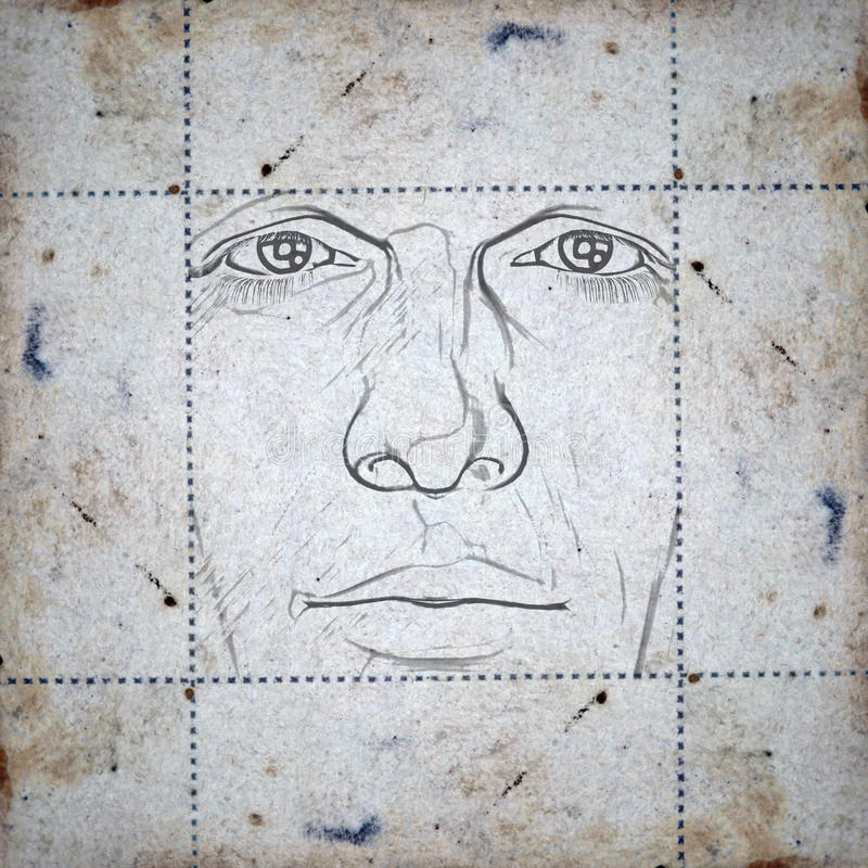 Face on stained paper. Sketch of a man's face on stained paper background. Digitally created illustration royalty free illustration