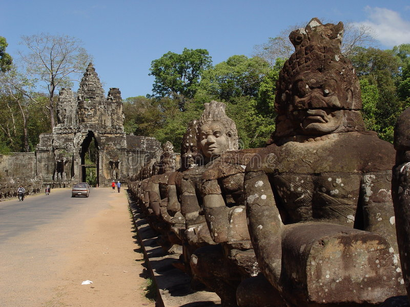 Face Statues in Angor Wat royalty free stock photography