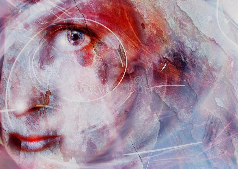 Face in Stone Female Portrait. This powerful image reflects the pain of abuse, neglect and isolation from the world. Perfectly portrays a wounded soul, from the stock illustration