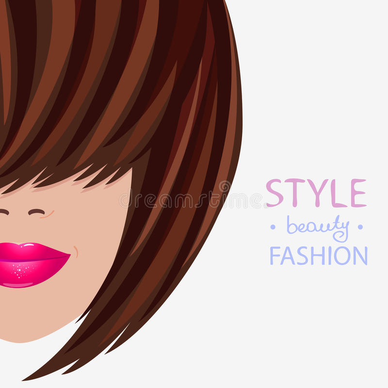 Face style. Illustration of a stylish bob hairstyle vector illustration