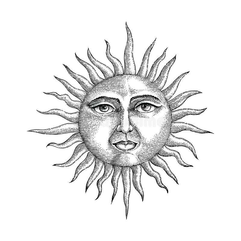 Face in sun hand drawing engraving style. Isolated on white background vector illustration