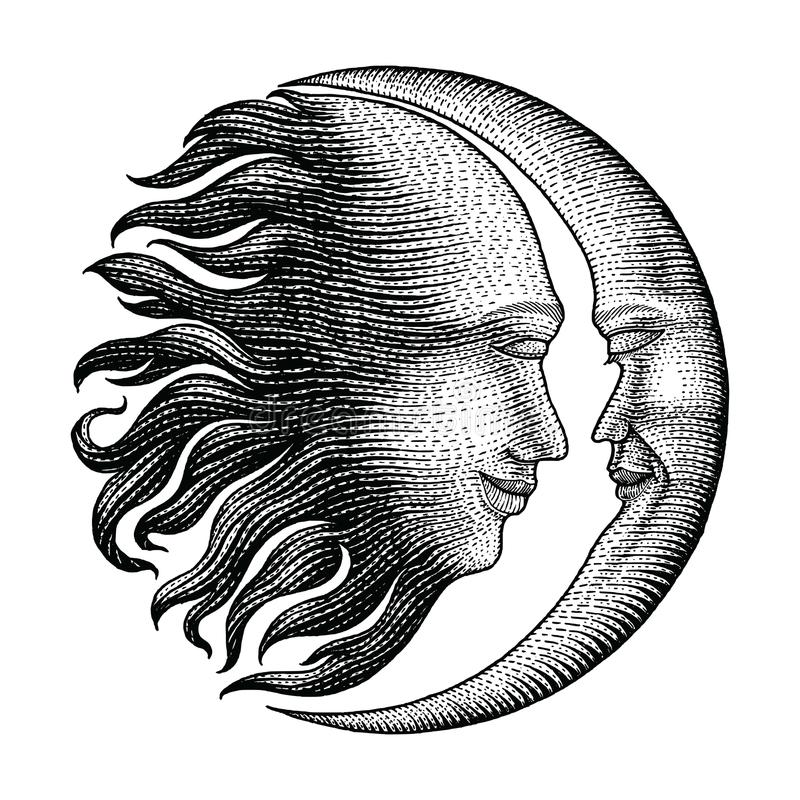 Face in Sun and Moon hand drawing vintage engraving money line d royalty free illustration