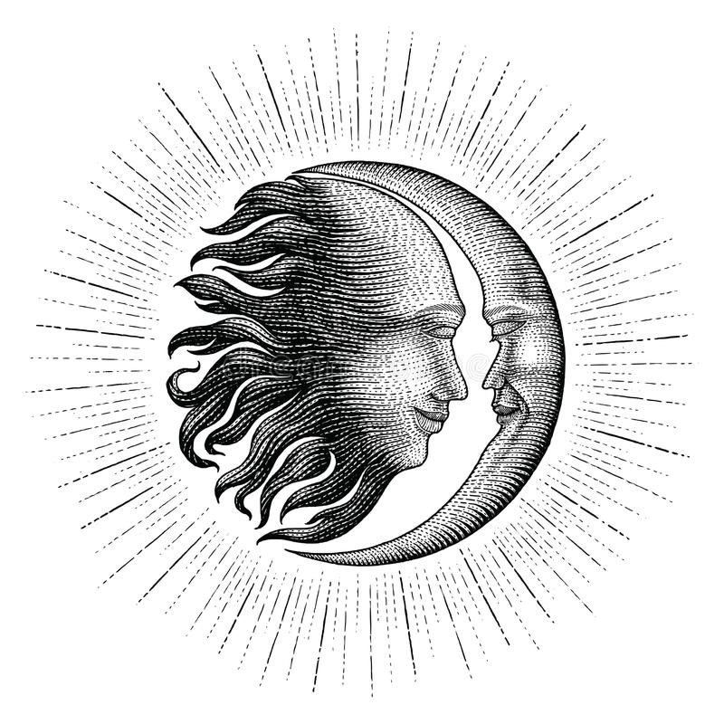 Face in Sun and Moon hand drawing vintage engraving money line d. Face in Sun and Moon with sparkle hand drawing vintage engraving money line detail style for vector illustration