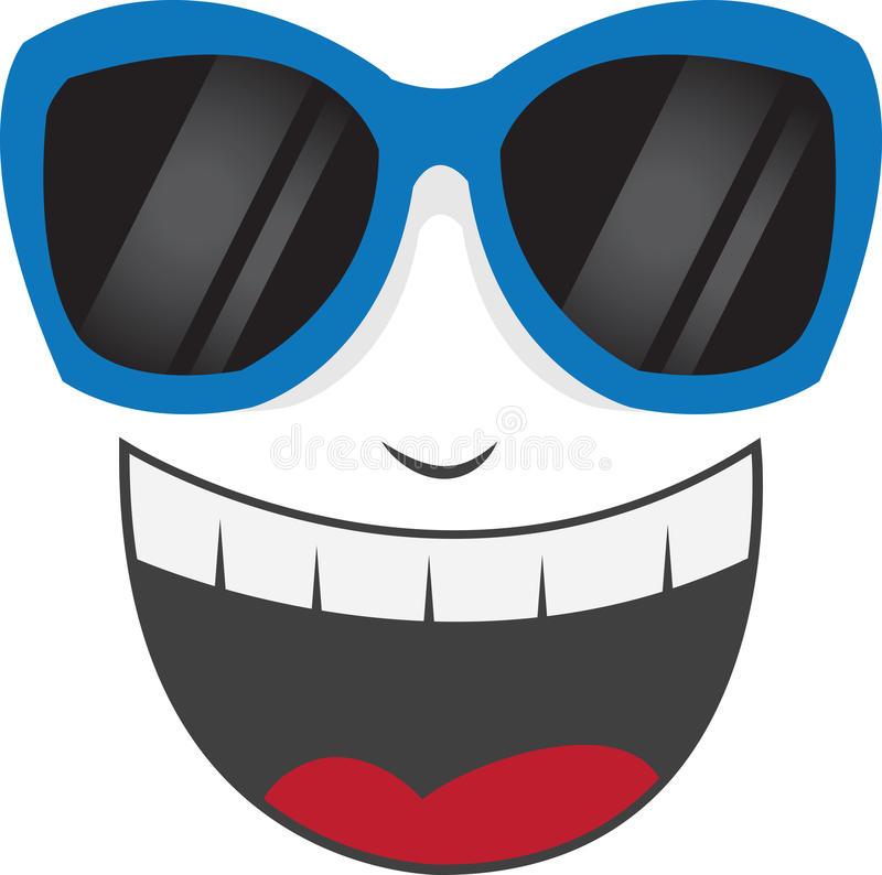 Face Sunglasses Laughing. Isolated face with blue sunglasses laughing royalty free illustration