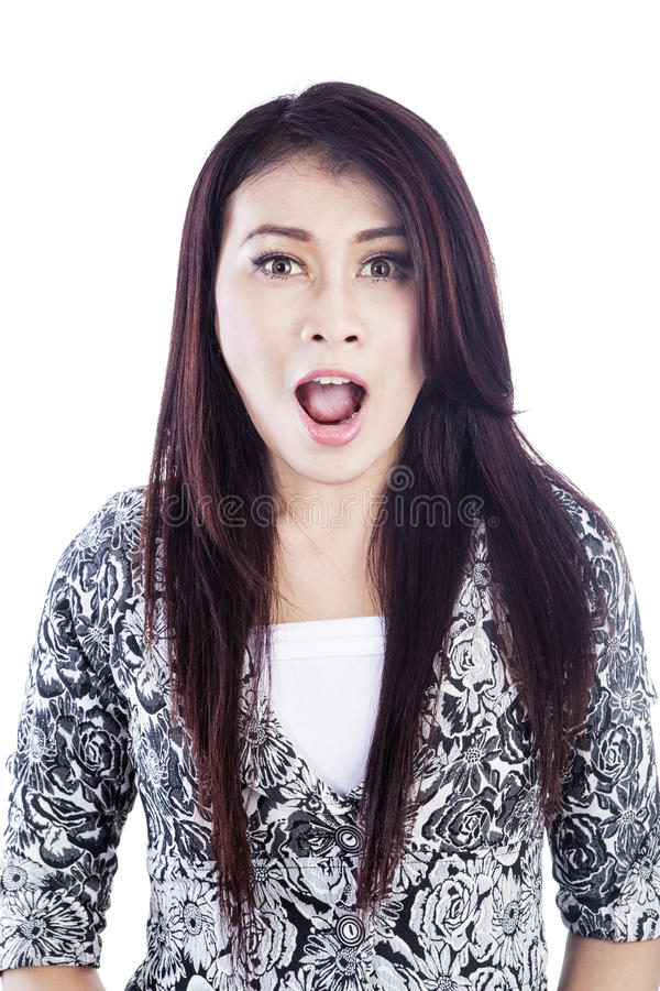 Face Of Surprise Woman Isolated Over White Stock Images