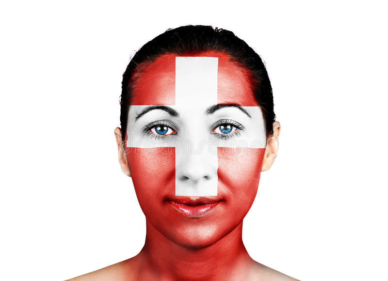 Face with the Swiss flag stock photography