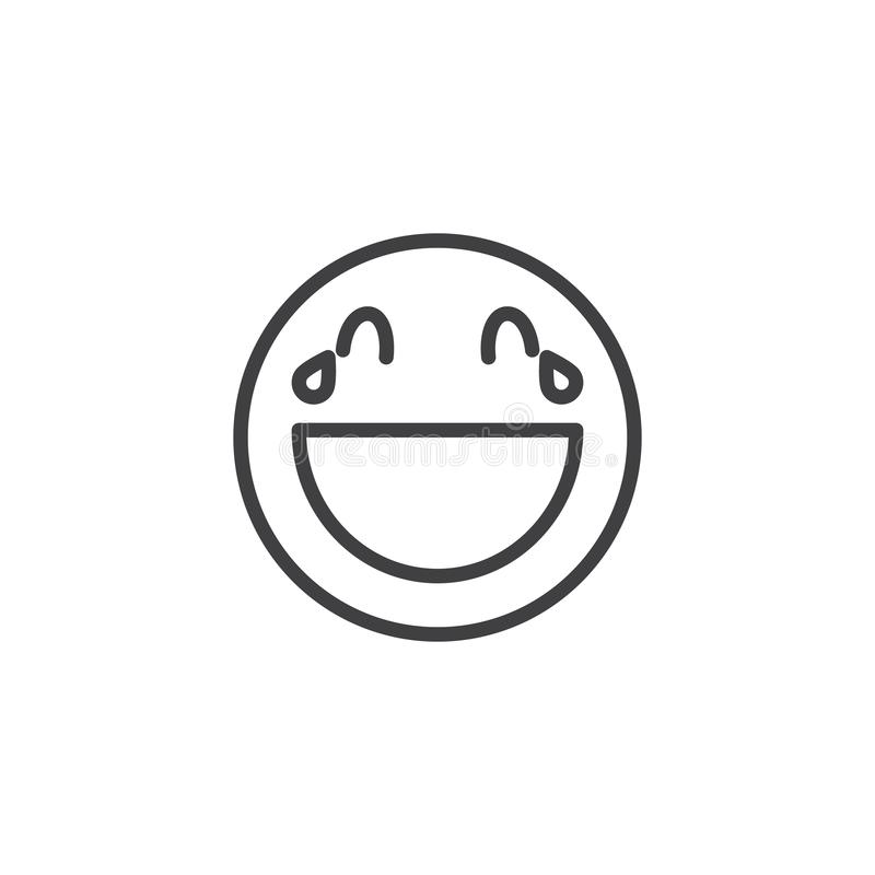 Face With Tears of Joy emoji line icon. Linear style sign for mobile concept and web design. Laughing face emoticon outline vector icon. Symbol, logo royalty free illustration
