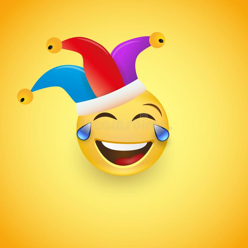 Laughing Face with a red nose in a clown hat. Fool`s Day. Happy April, 1. Vector i royalty free illustration