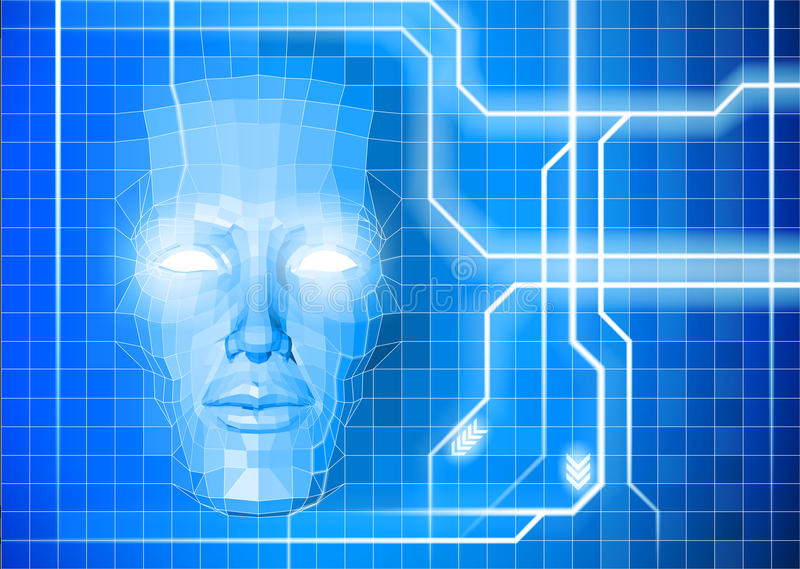 Face technology background concept. A face technology background abstract concept of a blue face emerging from a n electronic grid royalty free illustration