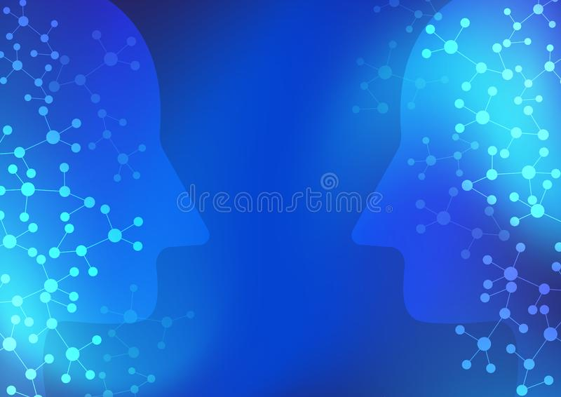 Artificial intelligence and digital network technology blue background royalty free illustration