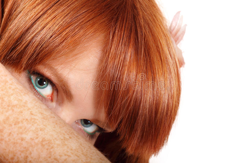 Face Teen Girl Beautiful Freckles Redheaded Stock Images