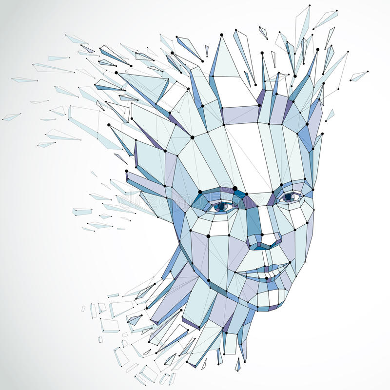Face of a thinking woman created in low poly style and with conn. Ected lines, 3d blue wireframe human head, brain exploding which symbolizes intelligence and vector illustration