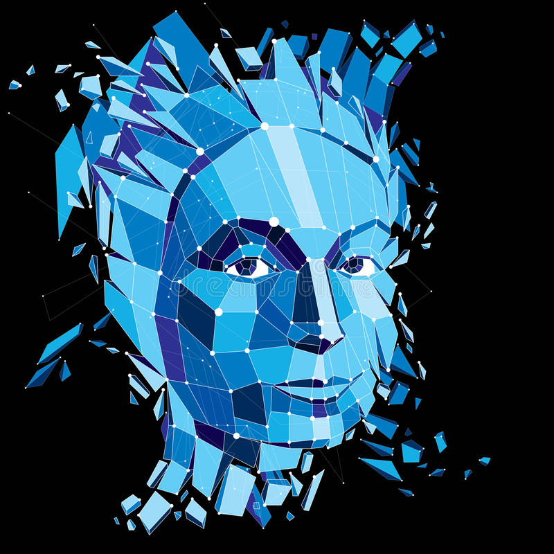 Face of a thinking woman created in low poly style and with conn. Ected lines, 3d vector blue wireframe human head, brain exploding which symbolizes intelligence royalty free illustration