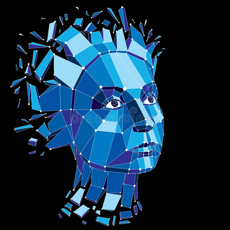 Face of a thinking woman created in low poly style and with conn. Ected lines, 3d vector blue wireframe human head, brain exploding which symbolizes intelligence stock illustration