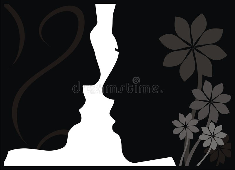 Face to face. Lovely couple are looking each other vector illustration