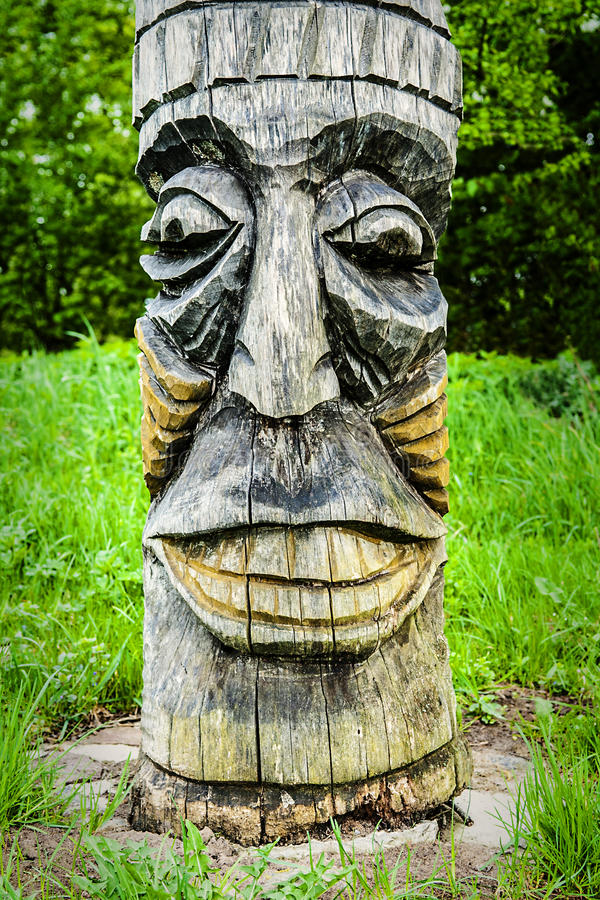 Face Totem Pole stock photo