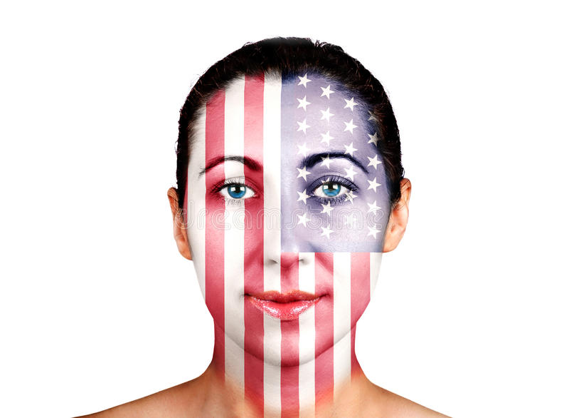 Face, United States flag stock photos