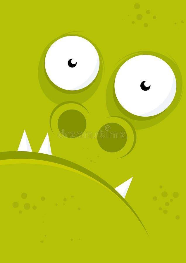 Face verde do monstro ilustração royalty free