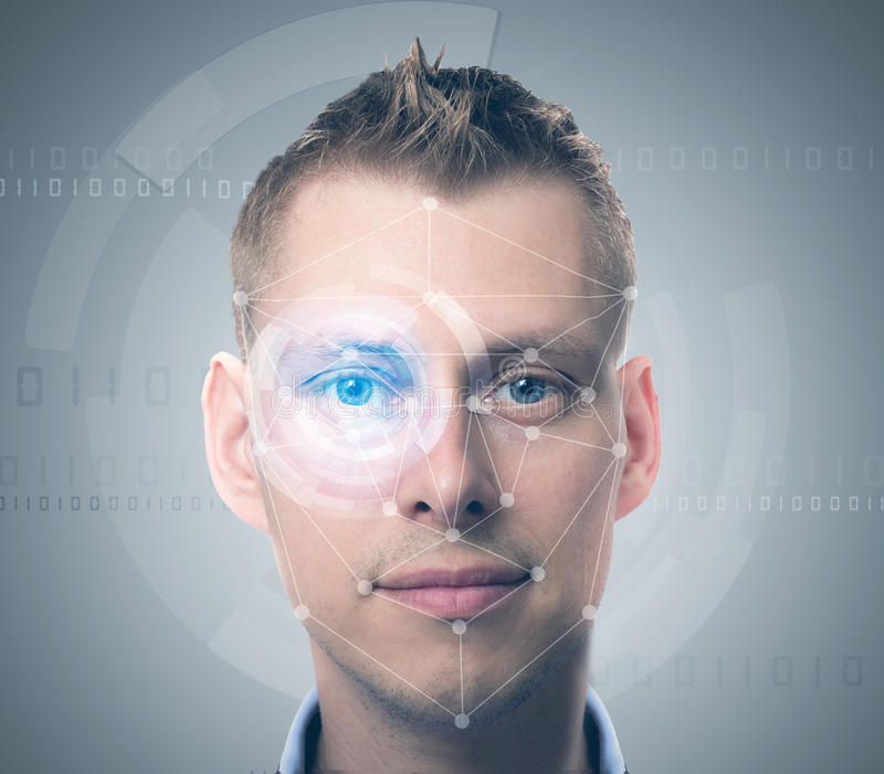 Face verification man. Face verification technology with man face stock photography