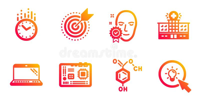 Face verified, Time and Laptop icons set. Motherboard, Chemical formula and Hospital building signs. Vector. Face verified, Time and Laptop line icons set stock illustration