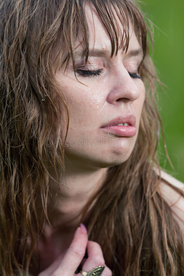 The Face Of The Wet Woman Royalty Free Stock Images