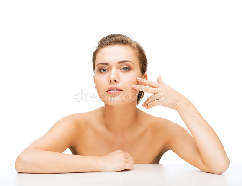 Face of woman with clean perfect skin royalty free stock images