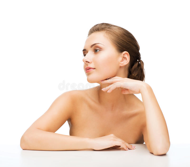 Face of woman with clean perfect skin stock photo