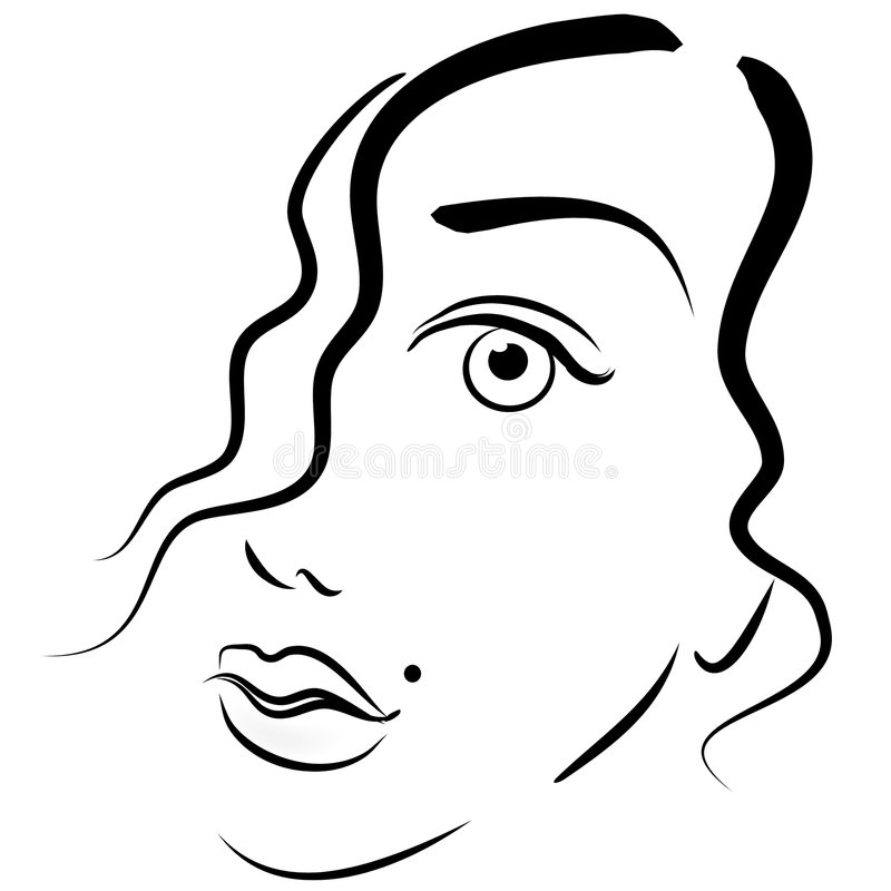 Face of Woman Clip Art 2. An abstract art portrait of a woman's face in black outlines showing half her face with just a little flow of hair