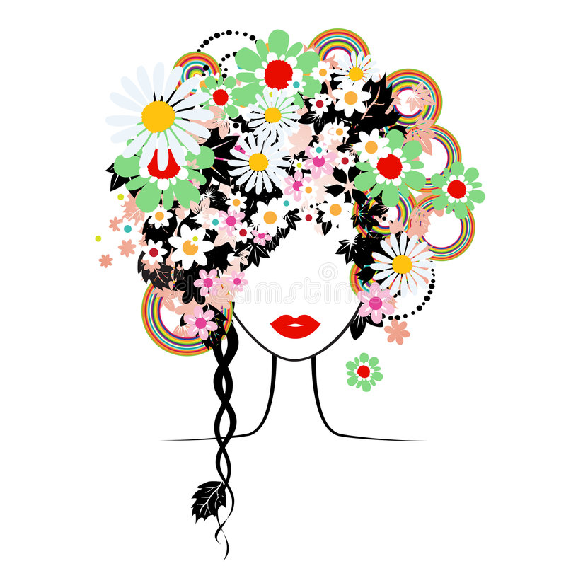 Face woman, floral hairstyle vector illustration