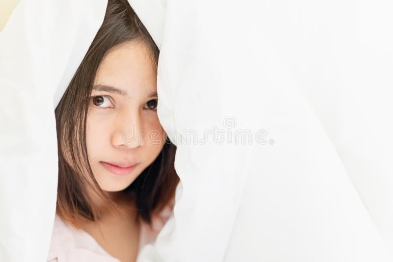 The face of woman with good skin health. Eyes are looking forward. Copy space for use in advertising beauty products stock photography
