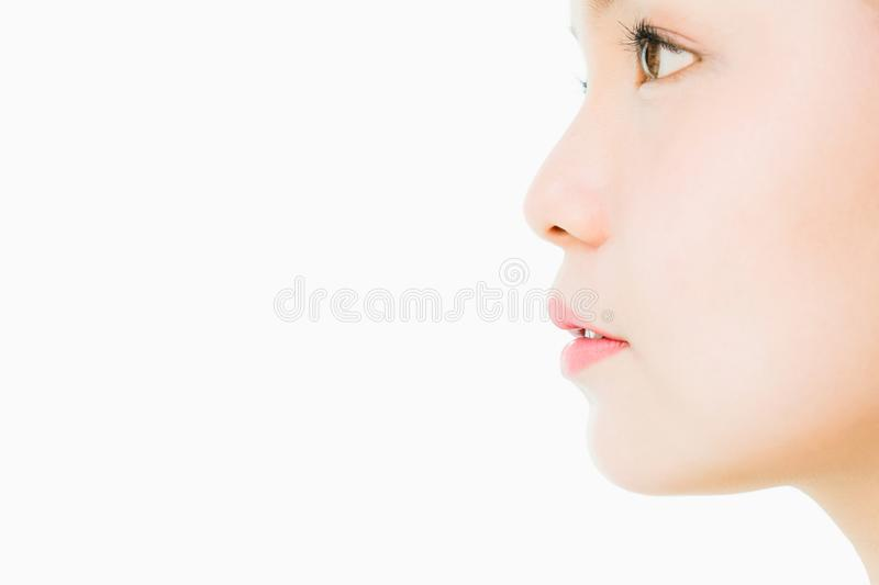 The face of a woman with good skin health and pink lips. Eyes are looking forward. copy space for use in advertising beauty. The face of a woman with good skin stock image