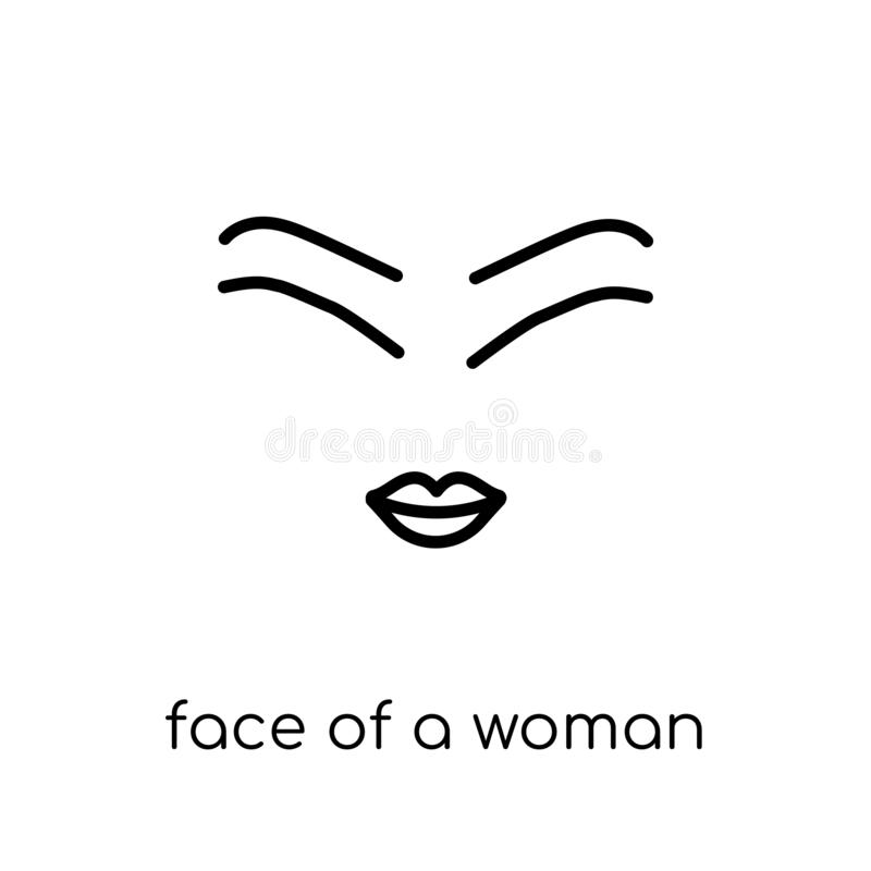 Face of a woman icon. Trendy modern flat linear vector Face of a royalty free illustration