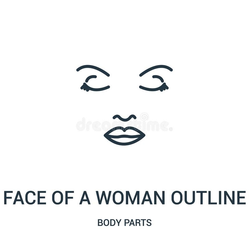 face of a woman outline icon vector from body parts collection. Thin line face of a woman outline outline icon vector illustration royalty free illustration