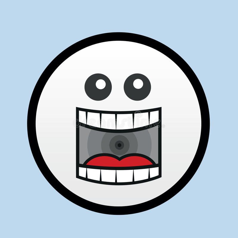 Face Yell. Cartoon face yelling with blue background vector illustration