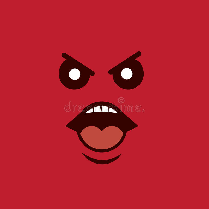 Face Yelling Angry. Angry face yelling with red background vector illustration