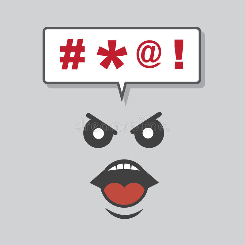 Face Yelling Expletives. From speech bubble vector illustration